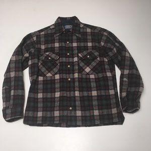 VTG Pendleton Plaid Cropped Button Down LS shirt